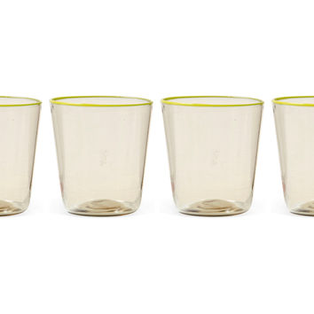 Flared Fume Wineglasses, Yellow, Set of 4, Stemware