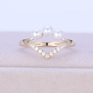 Akoya Pearl ring Vintage Diamond ring Antique Unique Curved Chevron Wedding Gift for Women Bridal set Jewelry Promise Solid gold Anniversary
