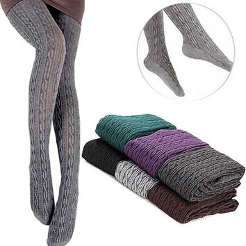 Sale Womens Winter Knit Warm Cotton Pantyhose Stockings Polyester Solid Color Tights