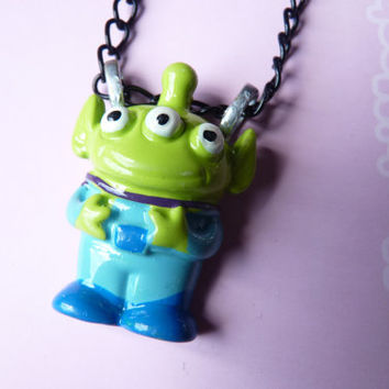 Toy Story Alien Necklace Kawaii - Black Metallic Chain