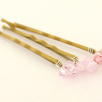 Six Mixed Pink Bobby Pins with genuine by jewellerymadebyme