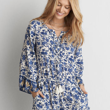 AEO Lace-Up Long Sleeve Romper , Blue