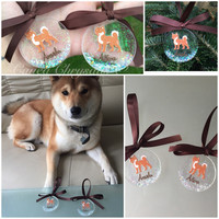 Shiba inu papercut tree decoration