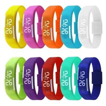 Fashion Sport LED Watches Candy Color Couple Silicone Rubber Touch Screen Digital Watches Waterproof Bracelet Wristwatch