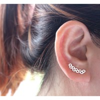Honeycomb Ear Climber, Honeycomb Earrings, Ear Crawler, Earrings