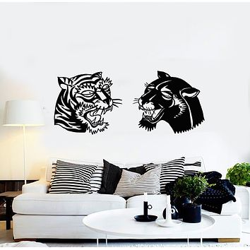 Vinyl Wall Decal Wild Animals Two Cats Head Panther Tiger Stickers Mural (g3232)