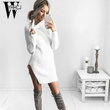 WYHHCJ 2017 new knit autumn/winter dress warm long sleeve sweater dresses sides split turtleneck thicken women dress robe femme