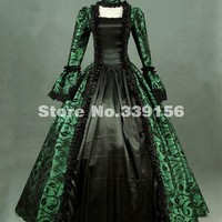 Hot Sale 18th Century Green Print Victorian Brocade Steampunk Dress Renaissance Marie Antoinette Gothic Ball Gown Costume