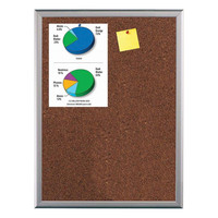 Cork Bulletin Board 16W x 22H Viewable Area Silver Frame