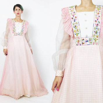 1970s Floral Embroidered Maxi Dress Prairie Ruffle Bib Dress Sheer Long Sleeve Dress Full Length Evening Gown Pastel Pink Gingham Print (XS)