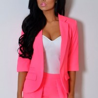 Calypso Neon Pink 3/4 Sleeve Fitted Blazer Jacket | Pink Boutique
