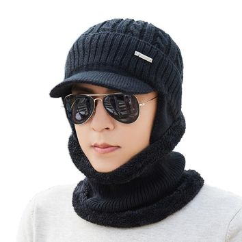 Winter Hat Scarf Skullies Beanies For Men Knitted Hat Women Mask Thick Balaclava Earflap Wool Bonnet Male Beanie Hats Cap