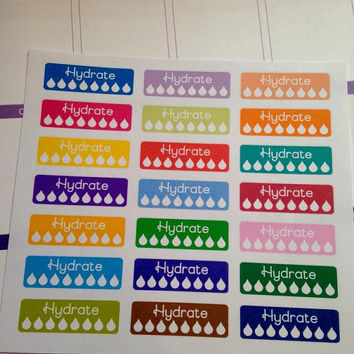 Set of 33 Pre-cut Bright Color Hydrate Stickers   - Perfect for your planner or scrapbook