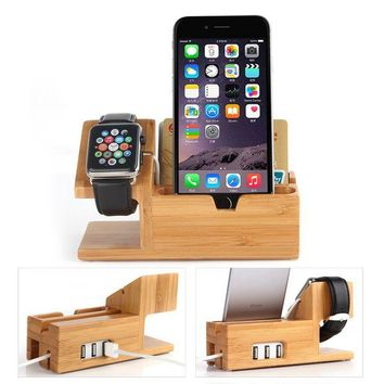 VONL8T Apple Watch Stand with USB 2.0 Hub, Hapurs 2 in 1 iWatch Bamboo Wood Charging Dock Station Cradle Holder With 3 Ports USB 2.0 Hub for iWatch Series 2 38mm 42mm & iPhones & Other Smartphones