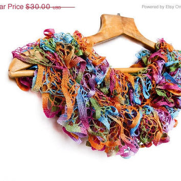 CIJ SALE Tropical dreamy scarf - hand knitted, colorful, multicolored, frilly, ruffle, summer long knitting lace accessories.