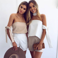 Summer Stylish 2 Colors Mini Tops With Neck
