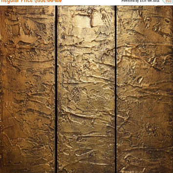 "EXTRA LARGE WALL art triptych 3 panel wall art "" Antique Gold "" copper canvas original paintings on canvas abstract kunst Peintingu 48 x 48"""