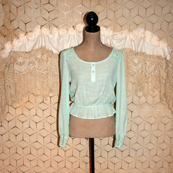 Mint Green Blouse Romantic Boho Top Hippie Peasant Top Crop Top Lace Back Long Sleeve Blouse Gauze Summer Top Small Medium Womens Clothing