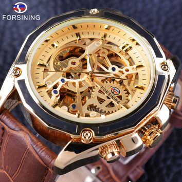 Forsining GMT1031 Transparent Luxury Gear Steampunk Brown Leather Belt Golden Movement Inside Self Winding Automatic Wrist Watch