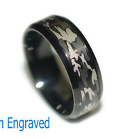 Engraved Stainless Steel Ring - Camouflage Ring - Personalized Ring - Custom Camouflage Ring - Gift for Hunter - Camouflage Jewelry