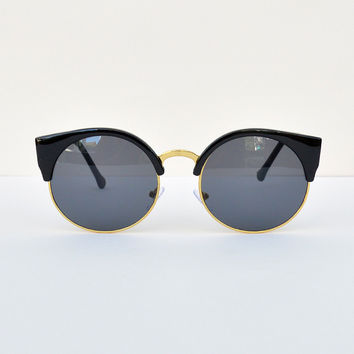 Cat Eye Black & Gold Frame Sunglasses