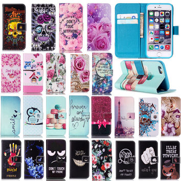 Fashion Pink Flower Flip Case For iPhone 6 6S Plus 7 7 Plus 5 5S SE Stand Wallet PU Leather + Soft TPU For iPhone 7 7Plus Cover
