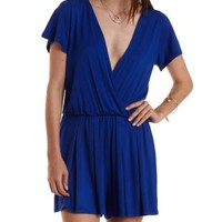 Cobalt Pleated Short Sleeve Wrap Romper by Charlotte Russe