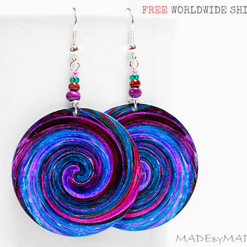 Blue & Purple Swirl  Earrings  Free  Shipping dangle Round decoupage 2-sided Jewelry diameter 4cm (1,57 inch) ,  gift for her under 25 (C1)