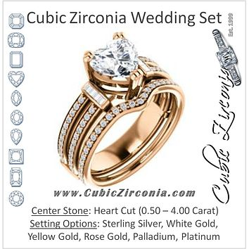 CZ Wedding Set, featuring The Kaitlyn engagement ring (Customizable Heart Cut with Flanking Baguettes And Round Channel Accents)