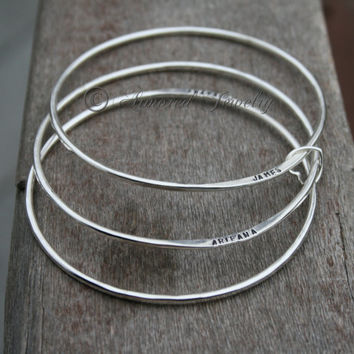 Sterling Silver Personalized Bangle Bracelet - Custom Name Bracelet - Mommy Jewelry - Sets up to 10 - Perfect Present or Gift for anyone!