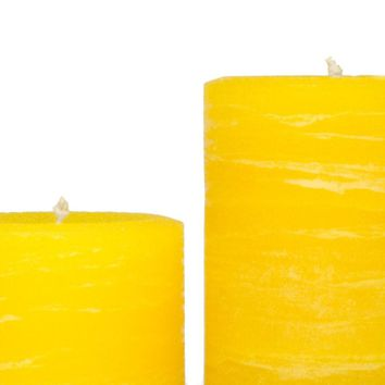 Yellow Pillar Candle | Lemon Rustic