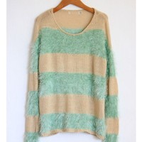 Fuzzy Mint Striped Sweater