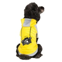 "Blueberry Pet Pack of 1 Dog Shirt 16"" Back Length Cotton Dog Camera Hoodie in Grey & Yellow for Dogs, X-Large"
