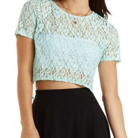 Pale Mint Boxy Lace Crop Top by Charlotte Russe