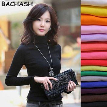 BACHASH 2018 High Quality Fashion Spring Autumn Winter Sweater Women Wool Turtleneck Pullovers Fashion Women Solid Sweaters