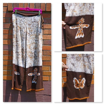 Vintage Batik Palazzo Pants, Drawstring Cotton, Handmade, Thunderbird, Butterfly, Hippie, Festival, Boho, 60s, 70s, Brown, Orange