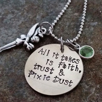 Disney - Hand Stamped - Necklace - Faith Trust and Pixie Dust - Tinkerbell