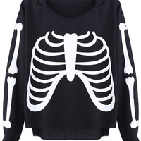 ROMWE | Bone Print Black Hoodie, The Latest Street Fashion