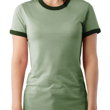 LE3NO PREMIUM Womens Basic Short Sleeve Heather Ringer T Shirt (CLEARANCE)