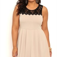 Plus Size Short Pleated Skater Prom Dress with Lace Neckline