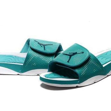 PEAPGE2 Beauty Ticks Nike Jordan Hydro V Retro Green/white Sandals Slipper Shoes Size Us 7-11