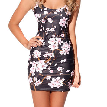 FASHION X-335 2015 New Spring women digital printed Cherry Blossom Black Dress