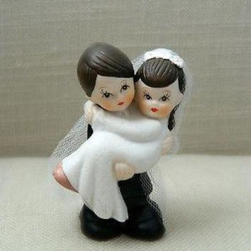 Bride and Groom Cake Topper Crossing Threshold Dark Brown Hair with Veil Vintage