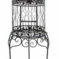 Benzara Beautiful Elevated Victorian Style Bird Cage With Wrought Iron