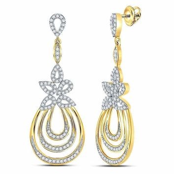 10kt Yellow Gold Womens Round Diamond Floral Oval Dangle Earrings 1-2 Cttw