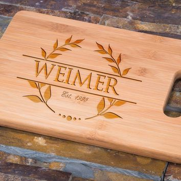 Custom Engraved Bamboo Cutting Board, Personalized Leaf Crest Design