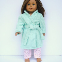 American Girl Doll Clothes, Terry Cloth Bathrobe, Mint Green Robe, Spa Robe, Housecoat fits 18 Inch Dolls