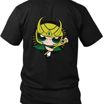 The Asgardian Girl Powerpuff 2 Sided Black Mens T Shirt