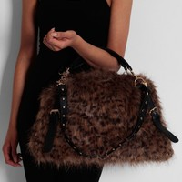Kimi Animal Print Faux Fur Handbag | Pink Boutique
