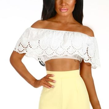 After Glow White Embroidered Bardot Crop Top